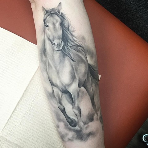 Horse Tattoo By Sarah Michelle Black And Grey Black Gold Tattoo Co