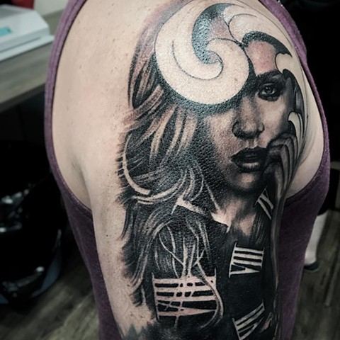 Woman And Roman Numerals Tattoo By Alan Coates Black And Grey Black Gold Tattoo Co