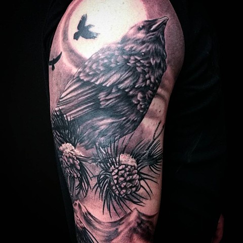 Crow On Branch With Waves Tattoo By Ashley Hoff Black And Grey Black Gold Tattoo Co