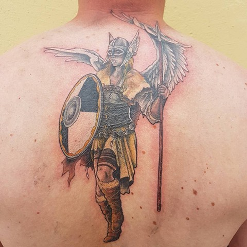 Nordic Warrior With Wings Tattoo By Kevin Sherritt Color Black Gold Tattoo Co.