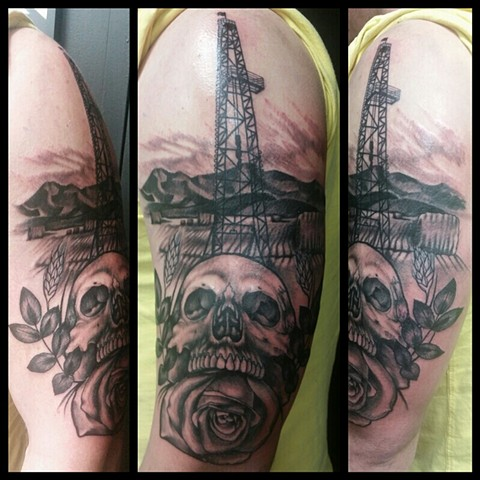 Oil Rig Skull Tattoo By Ashley Hoff Black And Grey Black Gold Tattoo Co