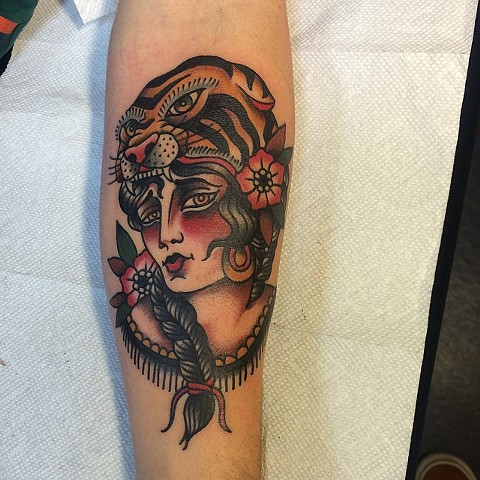Traditional Woman Wearing Tiger Headdress Tattoo By Spencer Evans Color Black Gold Tattoo Co