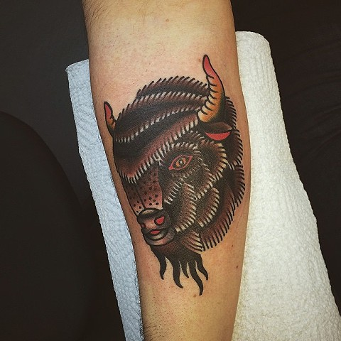 Traditional Bison Tattoo By Spencer Evans Color Black Gold Tattoo Co