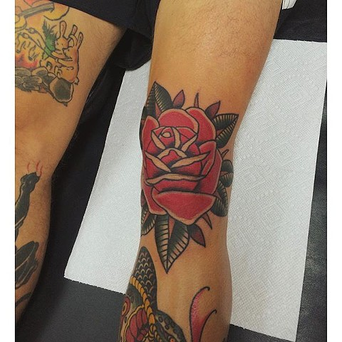 Traditional Rose Tattoo By Spencer Evans Color Black Gold Tattoo Co