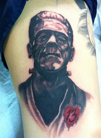 Frankenstein Tattoo By Lee Conklin Black And Grey Black Gold Tattoo Co