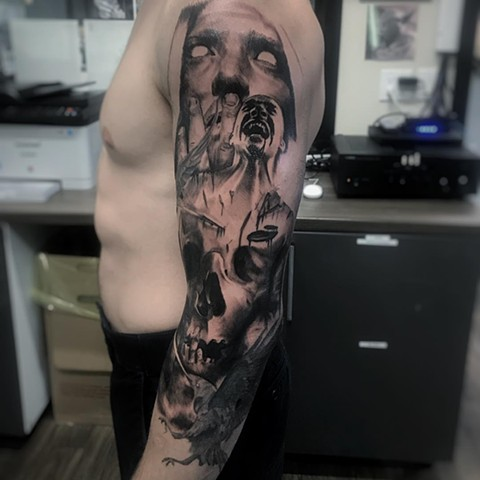 Zombies And Skull Tattoo By Alan Coates Black And Grey Black Gold Tattoo Co