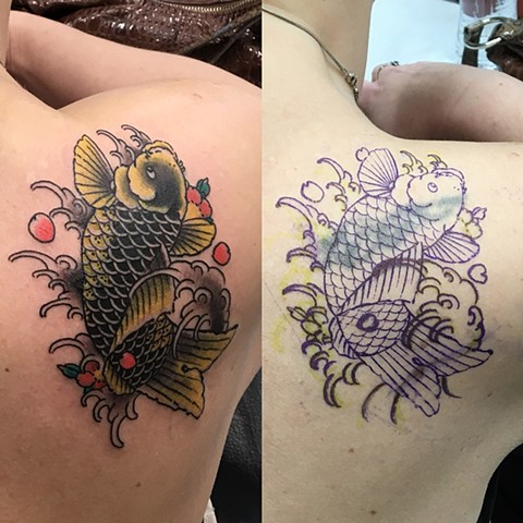 Koi Cover-up Tattoo By Guka Color Black Gold Tattoo Co