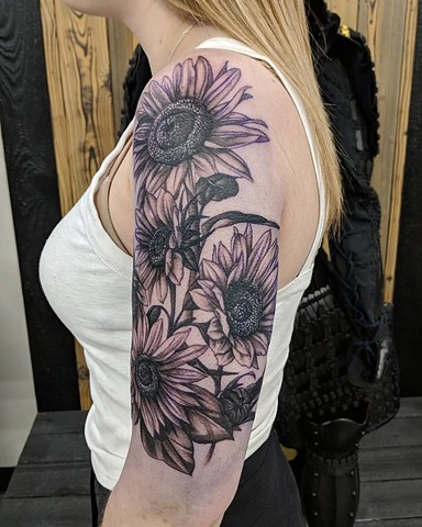 Sunflowers Half Sleeve Tattoo by Kevin Sherritt Black and Grey Black Gold Tattoo Co.