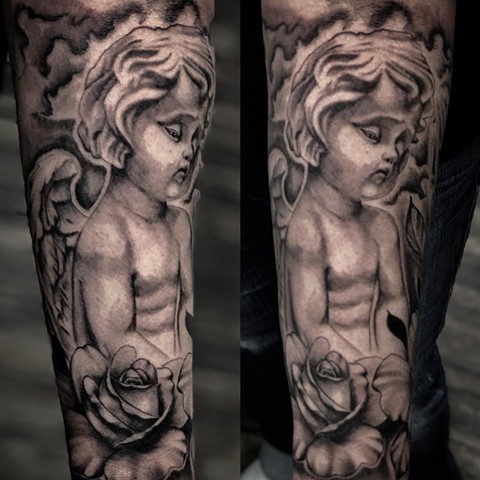 Angel And Rose Tattoo By Romeo Ostiguy Black And Grey Black Gold Tattoo Co