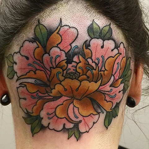 Peony Tattoo By Chris Benson Color Black Gold Tattoo Co