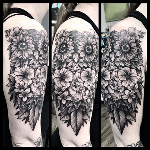 Floral Owl Tattoo By Jess Alther Black and Grey Black Gold Tattoo Co