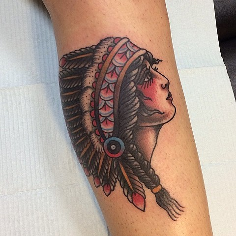 Traditional Woman Wearing Headdress Tattoo By Spencer Evans Color Black Gold Tattoo Co