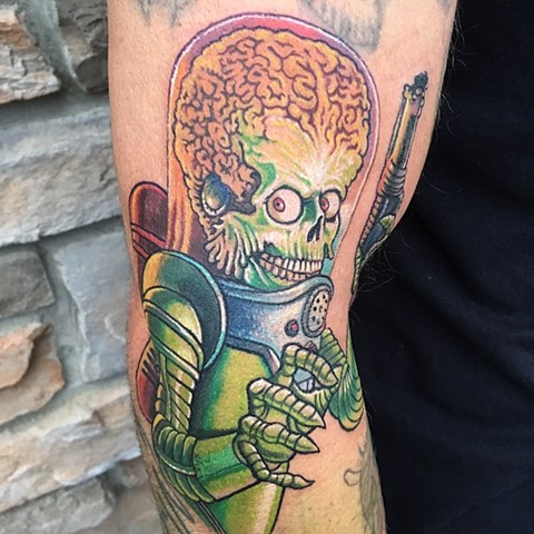 Mars Attacks Tattoo By Chris Labrenz Color Black Gold Tattoo Co