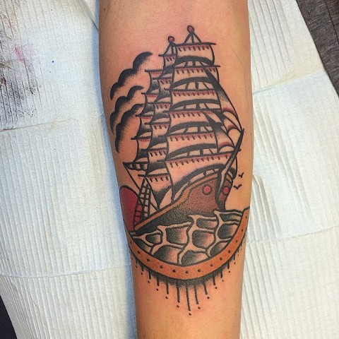 Traditional Ship Tattoo By Spencer Evans Color Black Gold Tattoo Co