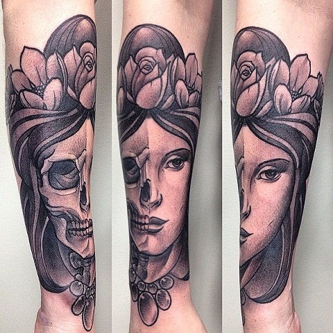 Half Skeleton Half Girl Tattoo By Chad Clothier Black And Grey Black Gold Tattoo Co