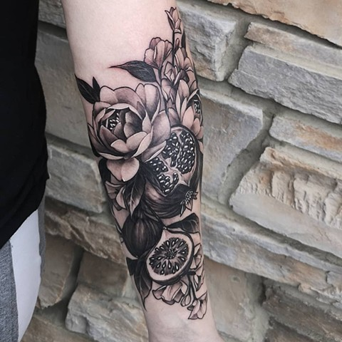 Pomegranate Figs and Flowers Tattoo By Sasha Roussel Black And Grey Black Gold Tattoo Co
