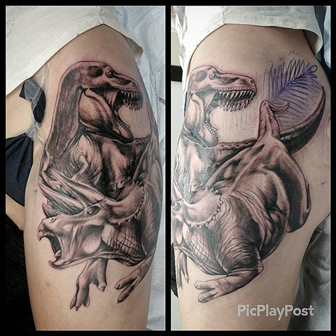 Dinosaurs Tattoo By Ashley Hoff Black And Grey Black Gold Tattoo Co