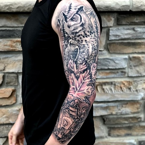 Owl With Mountains Maple Leaves And Lantern  Tattoo By Romeo Ostiguy Black And Grey Black Gold Tattoo Co