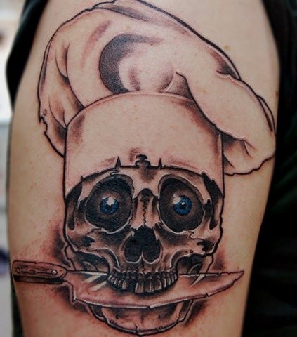 Skull In Chef Hat Tattoo By Lee Conklin Black And Grey With Color Black Gold Tattoo Co