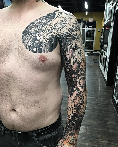 Dragon Tattoo By Guka Work In Progress Black Gold Tattoo