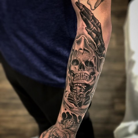 Skeleton Tattoo By Romeo Ostiguy Black And Grey Black Gold Tattoo Co