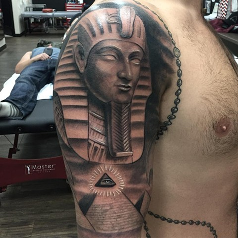 Egyptian Tattoo By Steve Hayes Black And Grey Black Gold Tattoo Co