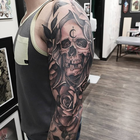 Grim Reaper and Flowers Tattoo By Sasha Roussel Black And Grey Black Gold Tattoo Co
