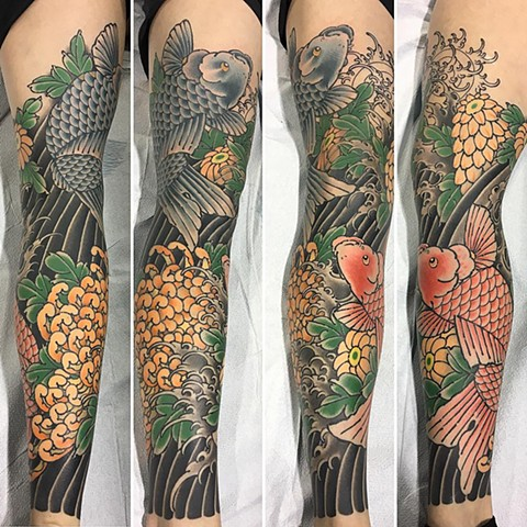 Koi Tattoo By Guka Color Black Gold Tattoo Co