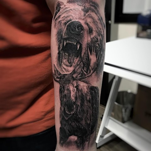 Bear And Moose Tattoo By Alan Coates Black And Grey Black Gold Tattoo Co
