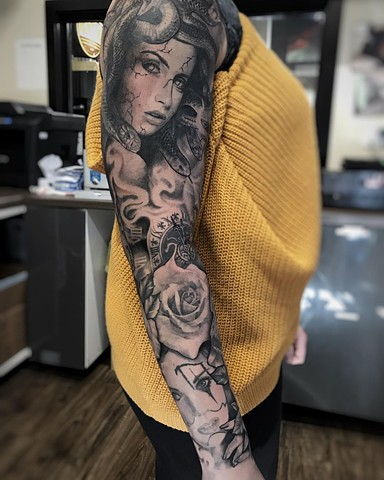 Medusa Sleeve Tattoo By Alan Coates Black And Grey Black Gold Tattoo Co.