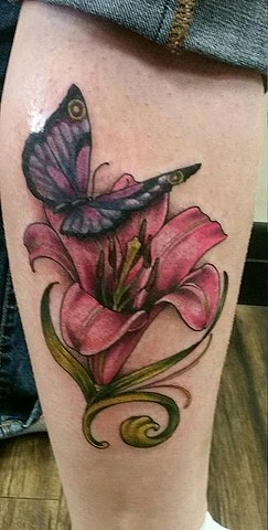 Butterfly And Flower Tattoo By Ashley Hoff Color Black Gold Tattoo Co