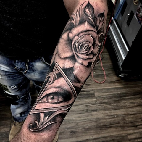 All Seeing Eye And Rose Tattoo Romeo Ostiguy Black And Grey Black Gold Tattoo Co