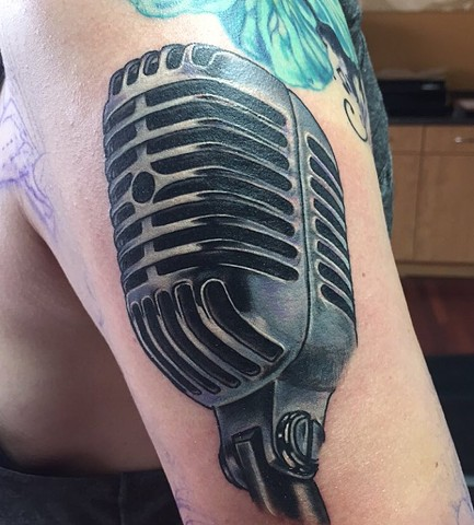 Microphone Tattoo By Amber Strange Black and Grey Black Gold Tattoo Co