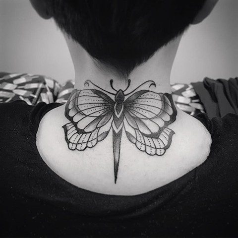 Butterfly Tattoo By Jess Alther Black And Grey Black Gold Tattoo Co