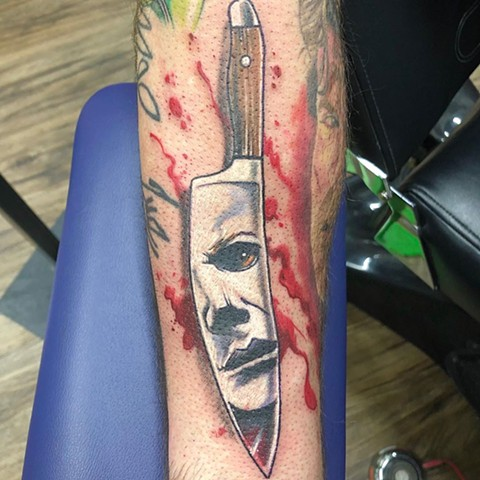Michael Myers Tattoo By Chris Labrenz Color Black Gold Tattoo Co.
