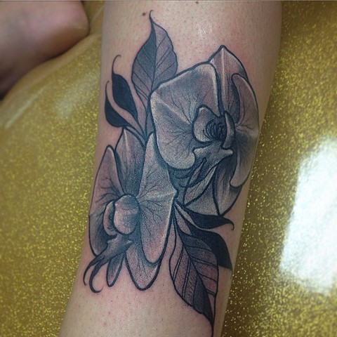 Floral Tattoo By Chad Clothier Black And Grey Black Gold Tattoo CO