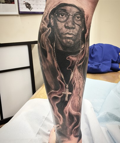 Big L Tattoo By Steve Hayes Black And Grey Black  Gold Tattoo Co