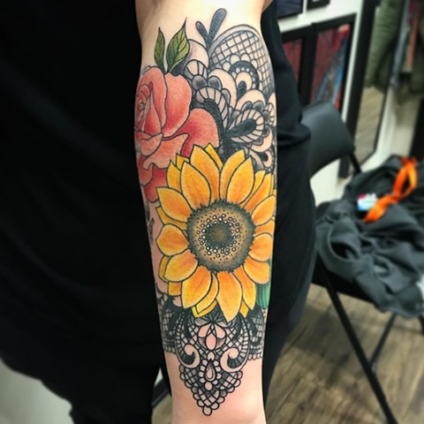 Flowers With Mandala Tattoo By Jess Alther Black And Grey With Color Black Gold Tattoo Co