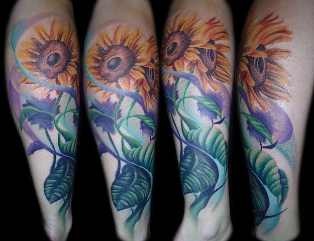 Sunflowers Tattoo By Josh Lamoureux Color Black Gold Tattoo Co