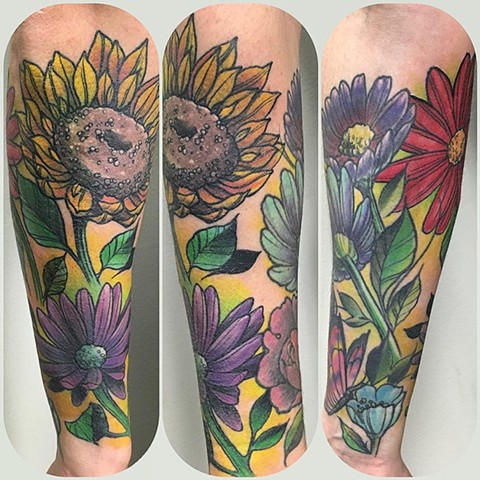 Floral Tattoo By Chad Clothier Color Black Gold Tattoo Co