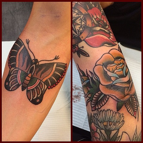 Traditional Butterfly And Rose Tattoo By Spencer Evans Color Black Gold Tattoo Co