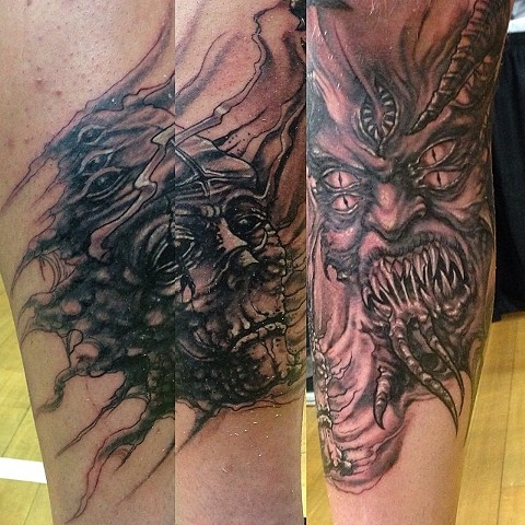 Demon Tattoo By Lee Conklin Black And Grey Black Gold Tattoo Co