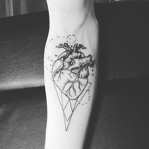 Anatomical Heart Tattoo By Amber Strange Black and Grey Black Gold Tattoo Co