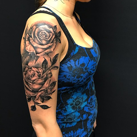 Rose  Tattoo By Amber Strange Black and Grey Black Gold Tattoo Co