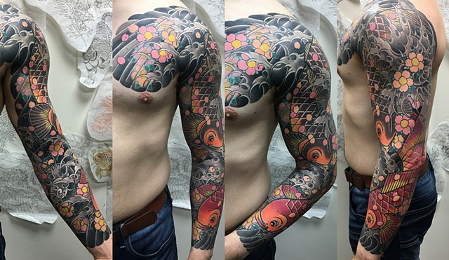 Koi With Waves And Cherry Blossom Tattoo By Guka Color Black Gold Tattoo Co