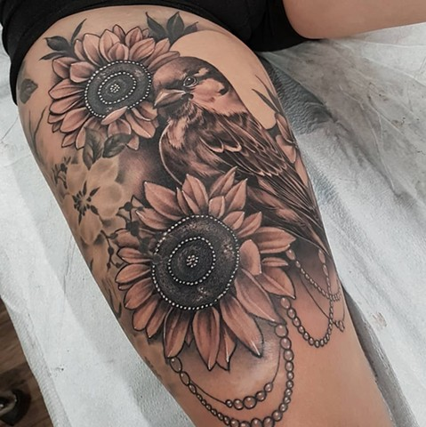 Bird With Sunflowers Tattoo By Sasha Roussel Black And Grey Black Gold Tattoo Co
