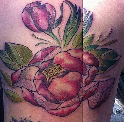 Peony Tattoo By Ashley Hoff Color Black Gold Tattoo Co