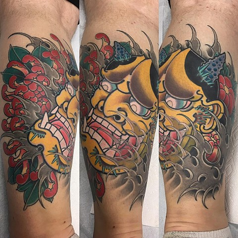 Hannya Mask And Chrysanthemum Tattoo By Guka Color Black Gold Tattoo Co