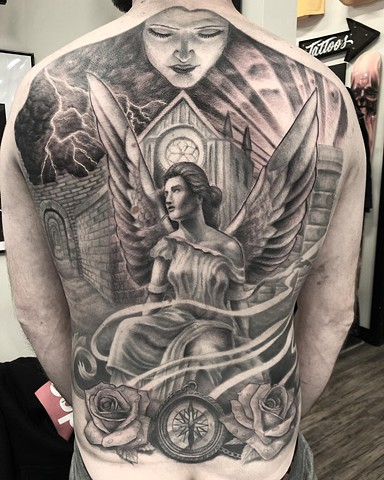 Angel Back Piece By Steve Hayes Black And Grey Black Gold Tattoo Co