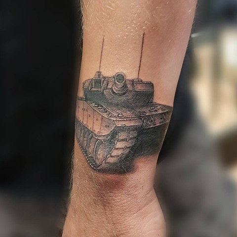 Tank Tattoo By Kevin Sherritt Black And Grey Black Gold Tattoo Co.